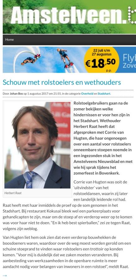 2017-1-8 AmstelveenBlog.nl over Corrie van Hugten, wethouder Herbert Raat en problemen van rolstoelers