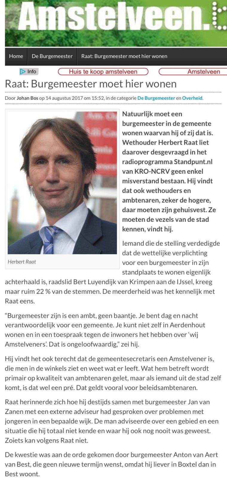 2017-14-8 Amstelveenblog.nl; wethouder Herbert Raat over woonplaats burgemeester