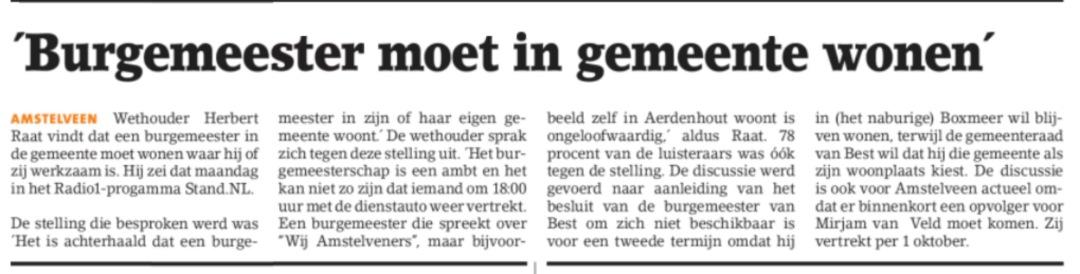 2017-16-8 Amstelveens Nieuwsblad; Herbert Raat over woonplaats burgemeester Amstelveen