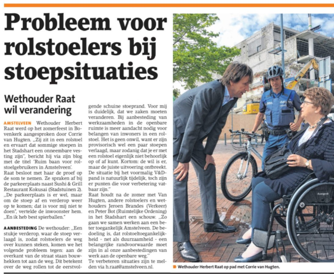 2017-1-8 Amstelveens Nieuwsblad over Corrie van Hugten, wethouder Herbert Raat en problemen van rolstoelers