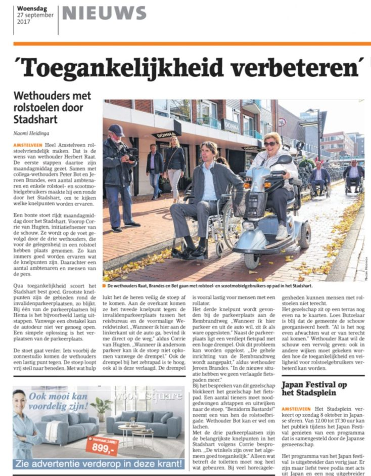 2017-27-9 Amstelveens Nieuwsblad over rolstoelers