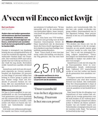 2017-23-8 Het Parool Bart van Zoelen; wethouder Herbert Raat over Amstelveen en Eneco