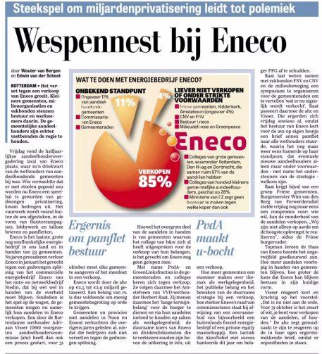 2017-23-9 Telegraaf over Eneco aandeelhoudersvergadering