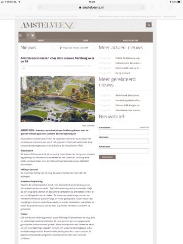 2017-27-11-AmstelveenZ; Herbert Raat over uitslag bomenbrug A9