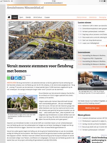 2017-28-11 Amstelveens Nieuwsblad; Wethouder Herbert Raat over uitslag fietsbrug A9