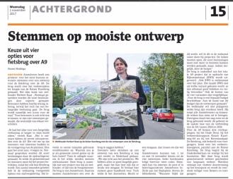 2017-1-11 artikel Amstelveens Nieuwsblad; Herbert Raat over fietsbrug A9 Amstelveen