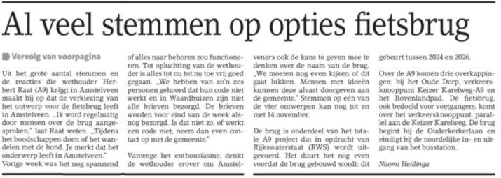 2017-Amstelveens Nieuwsblad; Herbert Raat: veel animo voor fietsbrug Amstelveen