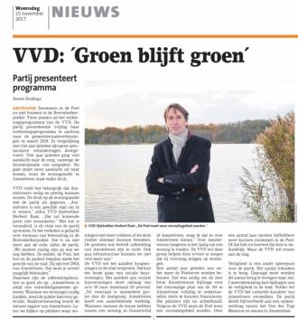2017-15-11 Amstelveens Nieuwsblad: interview met lijsttrekker Herbert Raat over programma VVD 2018