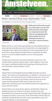 2017-2-11 AmstelveenBlog.nl; over Herbert Raat lijsttrekker VVD 2018