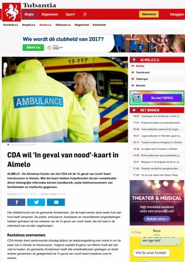 2017 Tubantia over Noodkaart Almelo Amstelveen