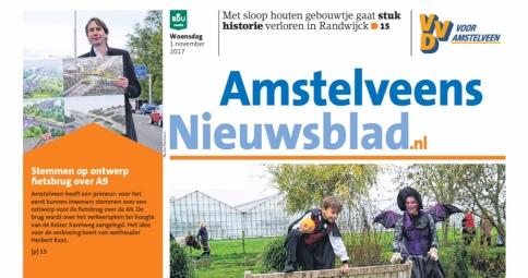 2017-1-11 Voorpagina Amstelveens Nieuwsblad over fietsbrug A9 Amstelveen