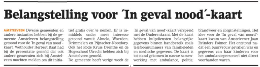 2017-11-10 Amstelveens Nieuwsblad Noodkaart
