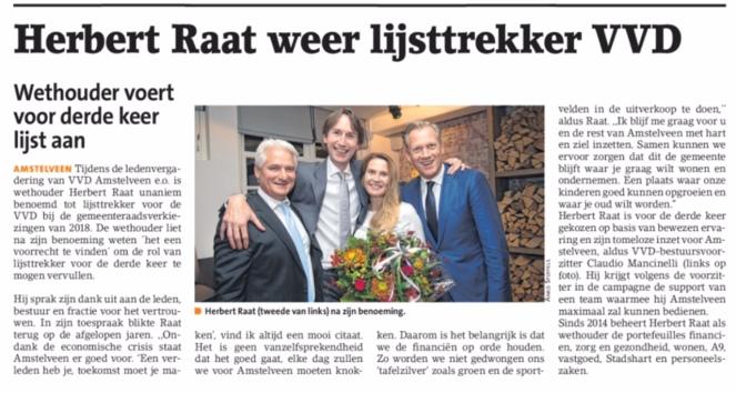 2017-1-11 Amstelveens Nieuwsblad: wethouder Herbert Raat lijsttrekker VVD Amstelveen 2018