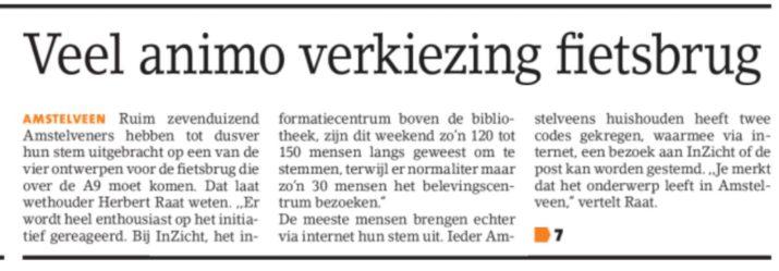 2017-Amstelveens Nieuwsblad veel animo voor fietsbrug Amstelveen