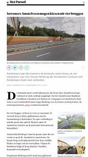 2017-4-11 Het Parool over stemmen voor fietsbrug Amstelveen