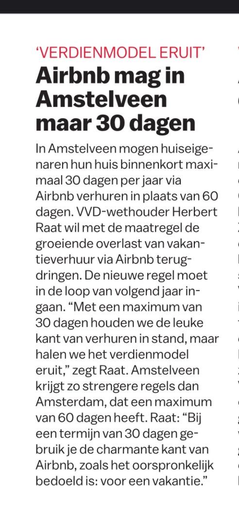 2017-14-12-Het Parool; Herbert Raat over Airbnb Amstelveen