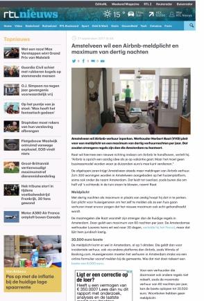 2017-27-9 RTL Nieuws; Herbert Raat over AirBnB In Amstelveen