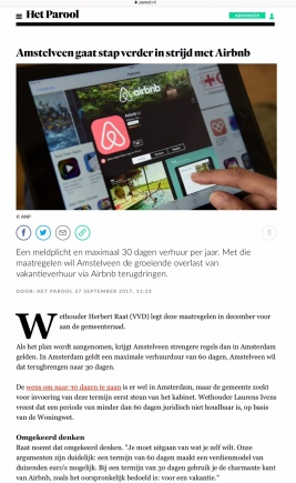 2017-27-9 Het Parool; Herbert Raat over Airbnb in Amstelveen 1 van 2