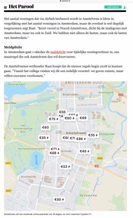 2017-27-9 Het Parool; Herbert Raat over Airbnb in Amstelveen 2 van 2