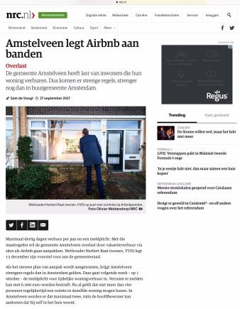 2017- NRC; Herbert Raat over Airbnb in Amstelveen 1 van 2
