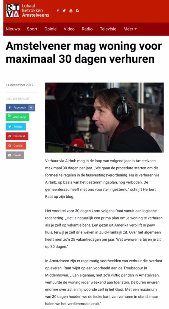 2017-14-12-RTV A; Herbert Raat over Airbnb Amstelveen