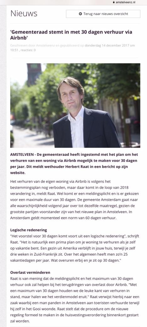 2017-14-12-Amstelveenz; Herbert Raat over Airbnb Amstelveen