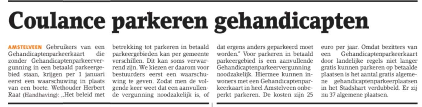 2017-22-12 Amstelveens Nieuwsblad; herbert Raat over waarschuwing invalidekaart