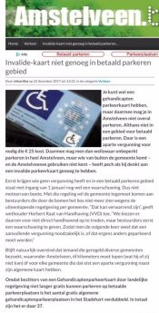 2017-22-12 Amstelveenblog.nl; Herbert Raat over waarschuwing invalidekaart