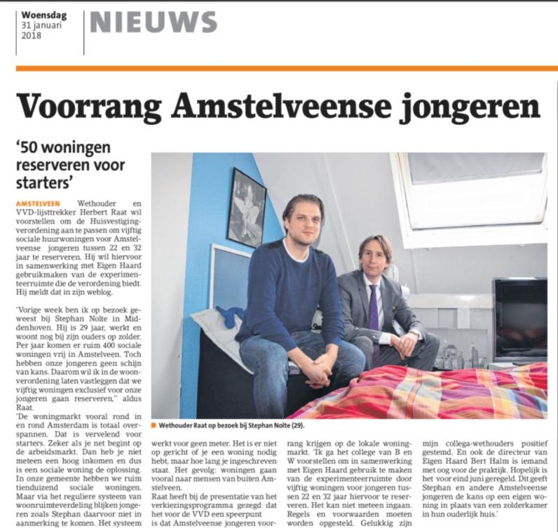 2018-31-1 Het Amstelveens Nieuwsblad; Herbert Raat over voorrang voor Amstelveense jongeren