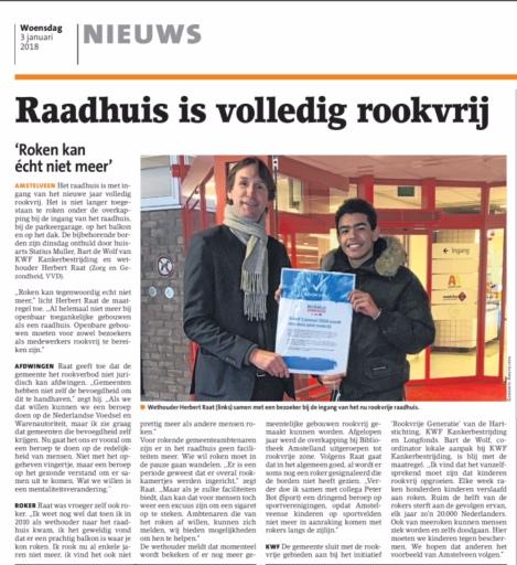 2018-3-1 Amstelveens Niuewsblad over rookvrij raadhuis