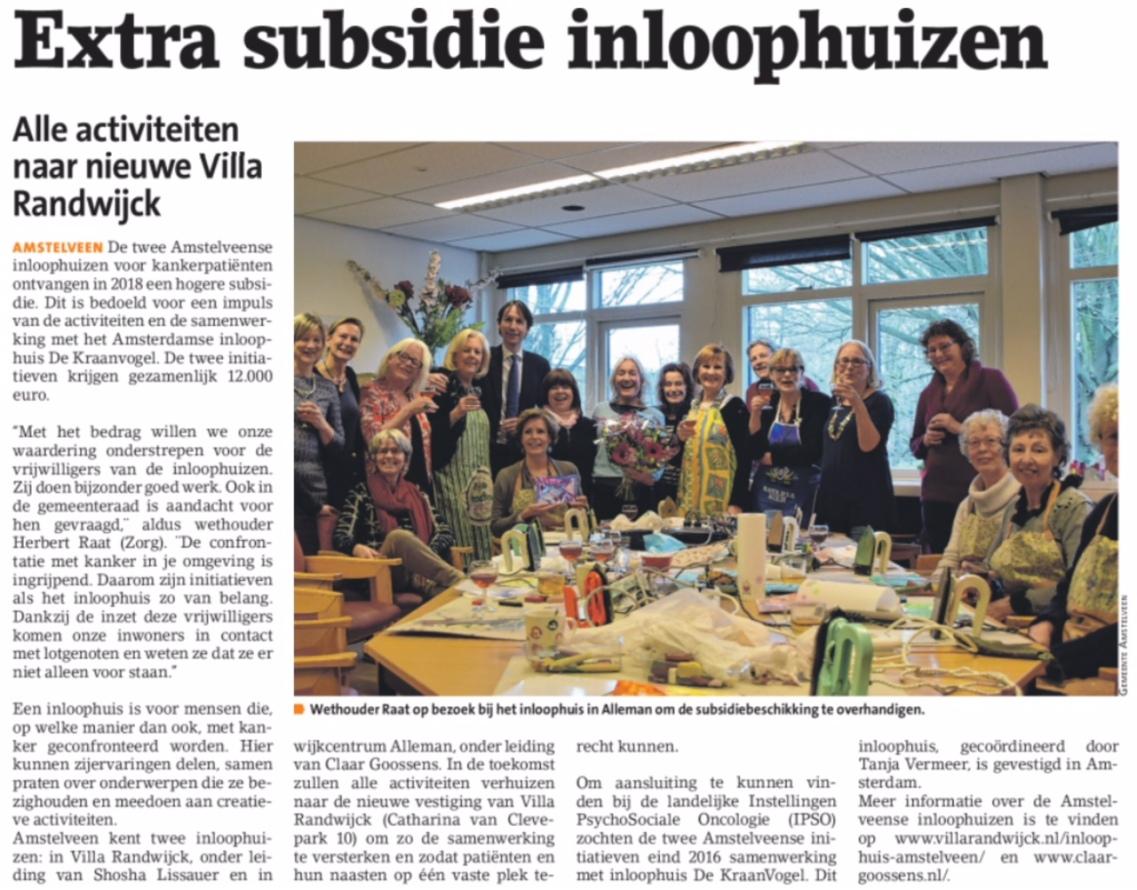 2018-10-1- Amstelveen Nieuwsblad over Inloophuis Amstelveen