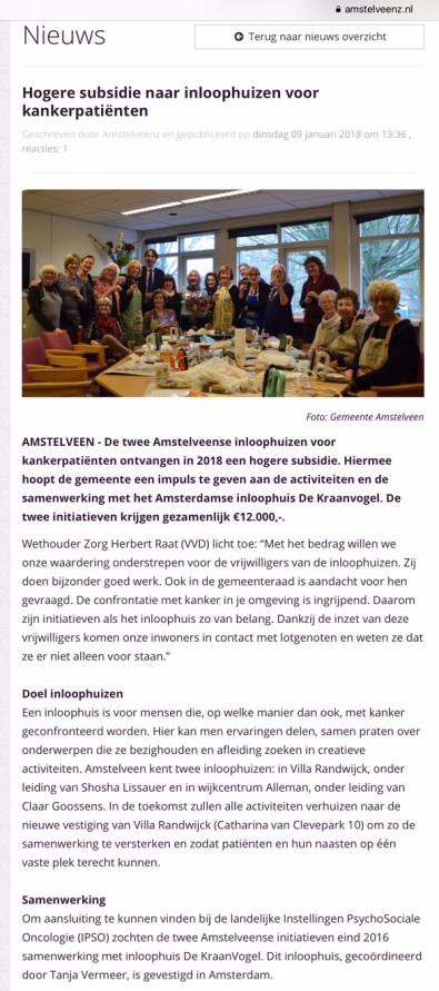 2018-10-1- AmstelveenZ ; Herbert Raat over Inloophuis Amstelveen