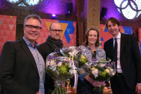 Erwin van der Laan (Heemlocaties), Jan Albert van der Veen (Naeckte Brouwers), Nienke Bagchus-Winkel (directeur Netwerkmanagement bij Rijkswaterstaat West-Nederland Noord) en Herbert Raat (Wethouder A9/Vastgoed)