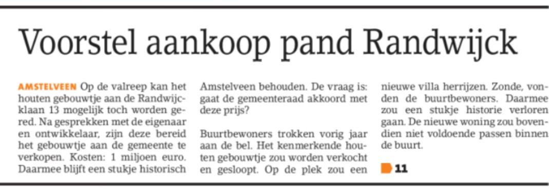 2018-24-1 Amstelveens Nieuwsblad: Herbert Raat over aankoop Randwijcklaan 13