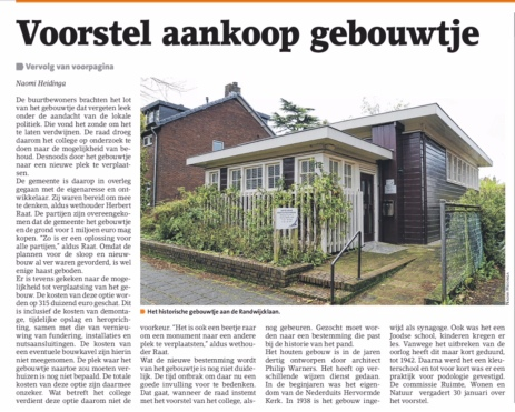 2018-24-1 Amstelveens Nieuwsblad; wethouder Herbert Raat over aankoop Randwijcklaan 13