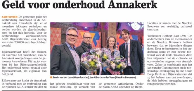 2018-7-2 Amstelveens Nieuwsblad; wethouder Herbert Raat over onderhoud Annakerk Amstelveen