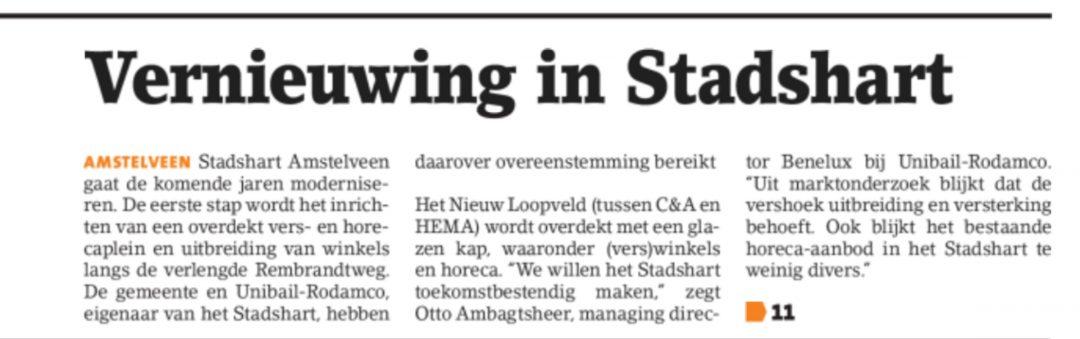 2018-14-2 Amstelveens Nieuwsblad over Stadshart Amstelveen pagina 1 van 2