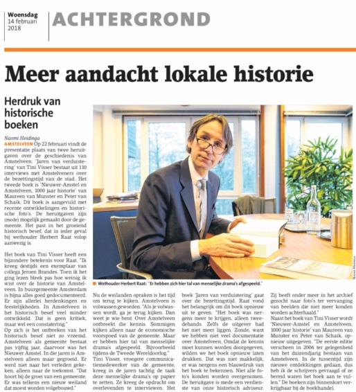 2018-16-2 Amstelveens Nieuwsblad interview Herbert Raat over lokale historie Amstelveen
