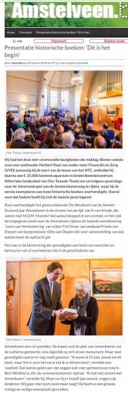 2018-23-2 AmstelveenBlog.nl; wethouder Herbert Raat over presentatie Jaren van Verduistering 1 van 2