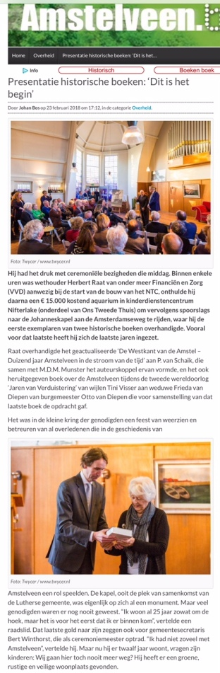 2018-23-2 AmstelveenBlog.nl over presentatie Jaren van Verduistering 1 van 2
