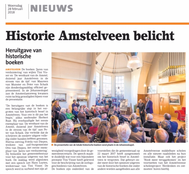 2018 Amstelveens Nieuwsblad; Herbert Raat over presentatie heruitgave boek van Tini Visser