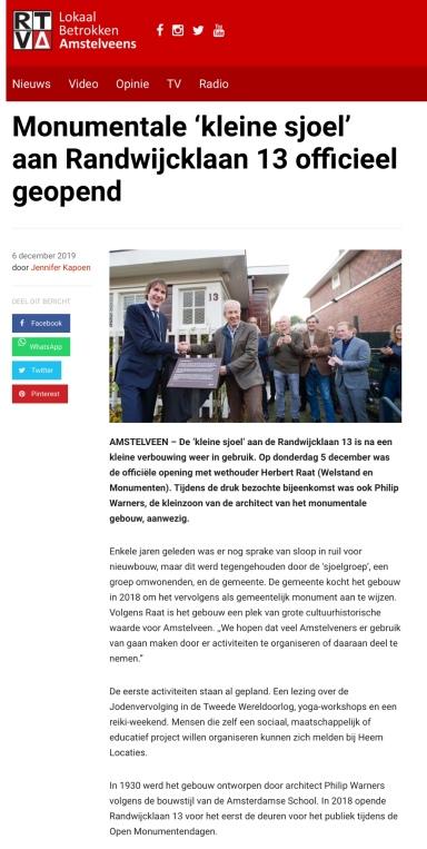 2019-6-12; RTVA; Opening Herbert Raat Randwijcklaan 13 , kleine sjoel'.