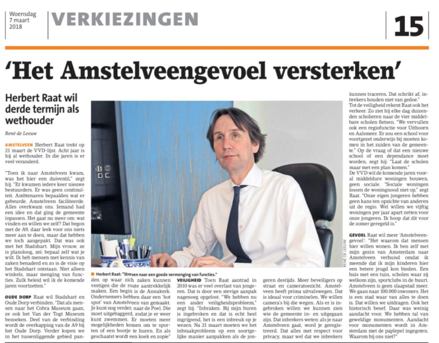 2018-7-3 Amstelveens Nieuwsblad interview lijstrekker VVD Amstelveen Herbert Raat over het Amstelveengevoel, Annakerk, aanpak inbraken en nog veel meer