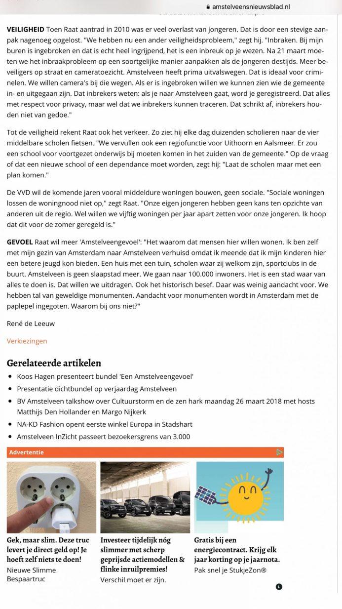 2018 interview Amstelveens Nieuwsblad met Herbert Raat over Amstelveen gevoel 2 van 2