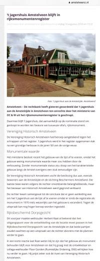 2018-10-8 Amstelveenz; wethouder Herbert Raat over 't jagershuis vonnis rijksmonument
