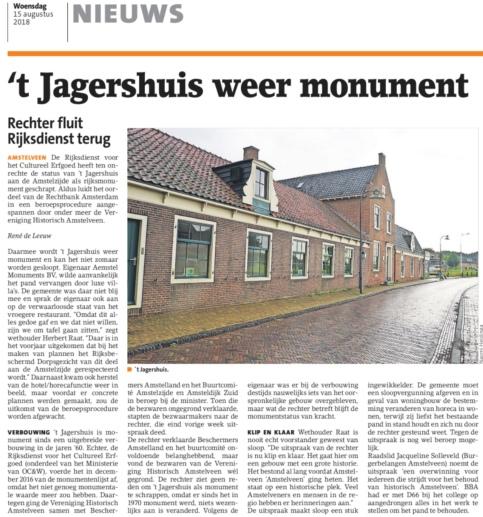 2018-14-8 Amstelveens Nieuwsblad; wethouder Herbert Raat over monument 't Jagershuis