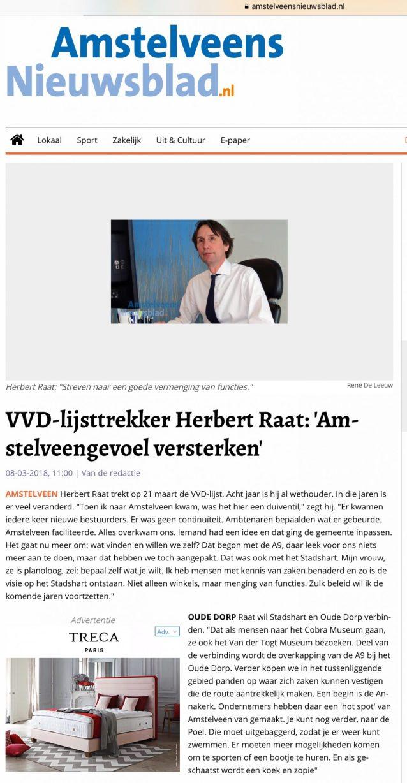 2018 interview Amstelveens Nieuwsblad met Herbert Raat over Amstelveengevoel 1 van 2