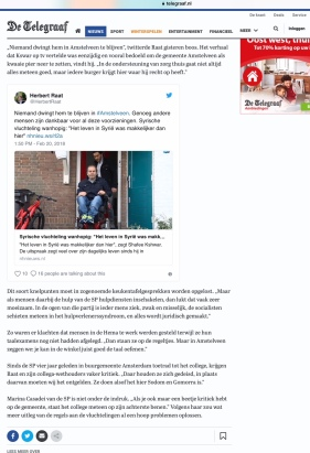 2018-20-2 De Telegraaf over ontevreden Syriër in Amstelveen 2 van 2