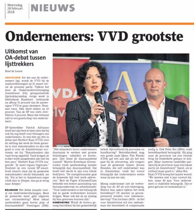 2018- Amstelveens Nieuwsblad ondernemers Amstelveen kiezen voor lijsttrekker Herbert Raat en de VVD