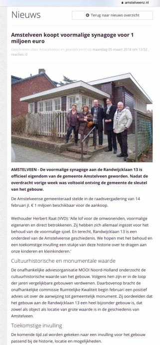 2018-5-3 Amstelveenz: Herbert Raat over aankoop kleine sjoel Amstelveen